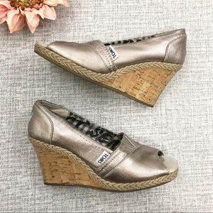 Toms Silver Cork Wedge